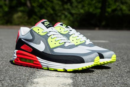 NIKE AIR MAX LUNAR 90 WR LIGHT ASH GREY/BLACK/LASER CRIMSON/WHITE