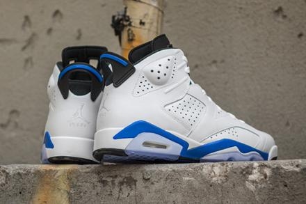 NIKE AIR JORDAN 6 RETRO WHITE/SPORT BLUE-BLACK