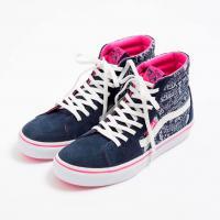 【国内1月30日発売予定】 エックスガール × バンズ スケートハイ ドローイング ロゴ ネイビー
