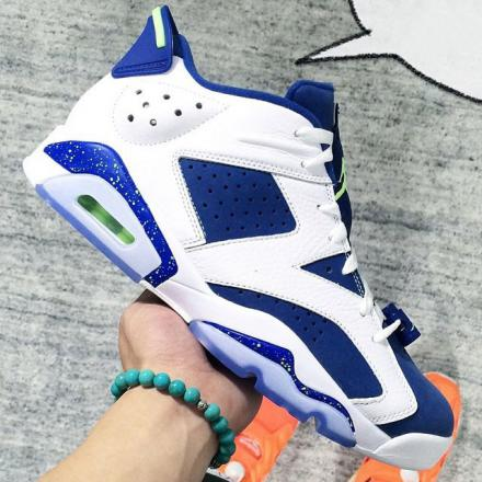 NIKE AIR JORDAN 6 RETRO LOW WHITE/GHOST GREEN-INSIGNE BLUE
