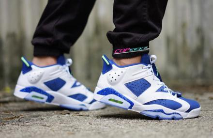 NIKE AIR JORDAN 6 RETRO LOW WHITE/GHOST GREEN-INSIGNIA BLUE
