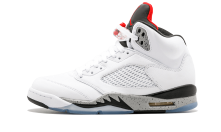 NIKE AIR JORDAN 5 RETRO WHITE/UNIVERSITY RED-BLACK-MATTE SILVER